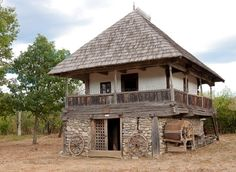 """Traditional houses in rural Romania (case traditionale romanesti) *** Upon arriving in her new home country in the young wife of Prince Carl of Romania noticed in her writings: """"Every R… Village House Design, Village Houses, Vernacular Architecture, Architecture Design, Petits Cottages, Bali Style Home, Rural House, Beautiful Small Homes, Rustic Home Design"""
