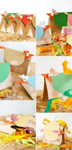 Adorable rooster bags for birthday giveaways to accompany the picture book, Rooster Raga by Natasha Sharma. Easter Crafts For Kids, Diy For Kids, Projects For Kids, Craft Projects, Chicken Crafts, Diy And Crafts, Paper Crafts, Easter Garland, Diy Easter Decorations