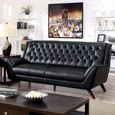 Furniture of America Valentino Mid-Century Modern Bonded Leather Sofa
