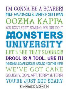 Monsters University Subway Art 11x14 Digital by KimBradicaDesign, $20.00
