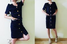 vintage navy blue cotton jersey dress, short sleeve,midi,gold front button up knee dress,nautical embroidery at pockets,made in Italy, S-M-L