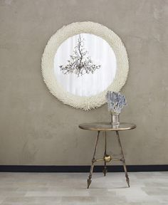 IVORY GLASS LEAF VENETIAN MIRROR   more info on our website