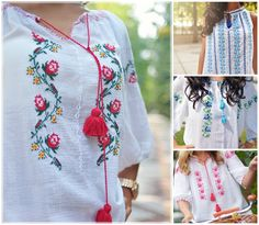 ..moda trece, iile raman #romanianblouse #handmade #autenticromanesc Romania, Embroidery, Blouse, Handmade, Collection, Products, Needlepoint, Hand Made, Blouses