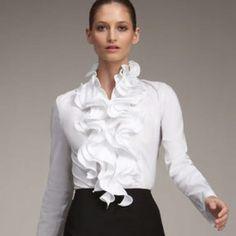 Escada Ruffled Blouse in White White Shirts Women, Blouses For Women, Blouse Styles, Blouse Designs, White Ruffle Blouse, Beautiful Blouses, Elegant Outfit, Work Attire, White Fashion