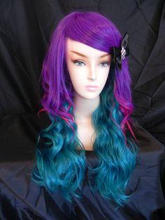Neon Mermaid / Purple, Hot Pink and Teal / Long Wavy Layered Wig $128.00
