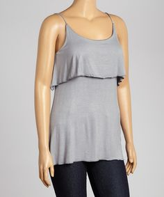 Another great find on #zulily! Slate Ruffle Sleeveless Top - Plus #zulilyfinds