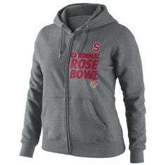 Nike Stanford Cardinal Women's 2013 Rose Bowl Bound Full-Zip Hooded... ($42) ❤ liked on Polyvore featuring tops, hoodies, grey, nike tops, gray hooded sweatshirt, grey top, full zip hoodie and nike hoodies