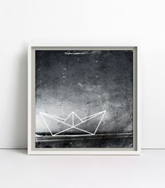 Papierboot, schwarz weiß, Print / Poster 30x30cm