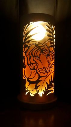 Jungle tiger from Tique. Pvc Pipe Crafts, Concrete Leaves, Bamboo Lamp, Origami And Kirigami, Laser Art, Pipe Lighting, Pvc Projects, Led Diy, Handmade Lamps