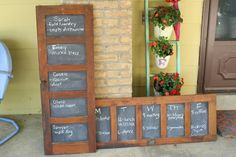 Old door turned into a chalk board.  Love.