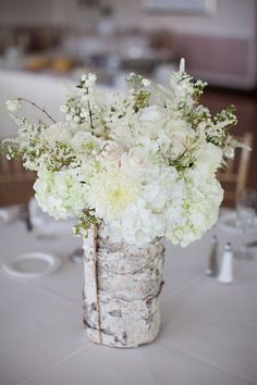 Rock Your Winter Wedding with Birch Centerpieces 008 Birch Centerpieces, Rustic Wedding Centerpieces, Flower Centerpieces, Flower Arrangements, Wedding Decorations, Tree Decorations, Masquerade Centerpieces, White Centerpiece, Table Arrangements