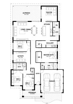 With a large open plan living area, separate home theatre and activity room, there is a lot to love about this stunning home. Floor Plan 4 Bedroom, 4 Bedroom House Plans, Ranch House Plans, New House Plans, Small House Plans, House Floor Plans, New Home Designs, Home Design Plans, House Plans Australia
