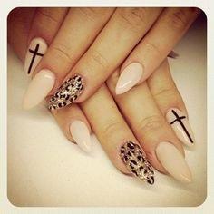 Cross/Leopard oval nails.