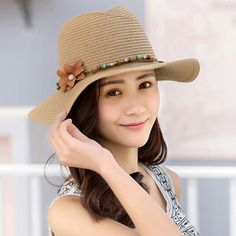 Ladies straw panama hat for summer with flower sun hats travel wear