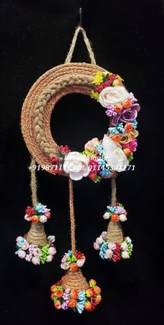 Designer Jute And Rich Flower Hanging For Diwali Gifting And Home Decor. Diwali Candle Holders, Diwali Candles, Candle Holder Decor, Door Hanging Decorations, How To Make Decorations, Hanging Ornaments, Rope Crafts, Diy Crafts Hacks, Diy Arts And Crafts