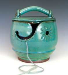 Beautiful ceramic #yarn bowl complete with lid.  Great for #knitters and #crocheters.