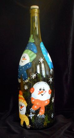 Snowman Light - made with recycled wine bottle (Large wine Bottle) Large Wine Bottle, Wine Bottle Glasses, Recycled Wine Bottles, Wine Bottle Corks, Painted Wine Bottles, Lighted Wine Bottles, Wine Bottle Crafts, Jar Crafts, Bottle Lights