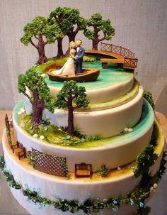 Couple Wedding Cake - such a romantic scene. Amazing.