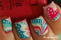 Pink, Teals, white water marble with dot accents.