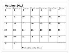 Livre! Calendários para outubro 2017 para imprimir