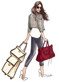 Meet Rachel of Suitcase Secrets! Rachel blogs about staying chic, no matter where her travels take her. I was so happy to meet Rachel and to sketch her blog header because I love a woman who respects the adventure of travel by dressing nicely.