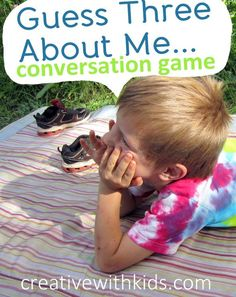 """Conversational Game – Guess Three About Me! """"Guess 3 things I think are pretty."""" After the other person takes three guesses. he/she can ask, """"What did you think I would say? Learning Activities, Kids Learning, Activities For Kids, Social Thinking, Parenting 101, Parenting Classes, Child Life, Speech And Language, Raising Kids"""