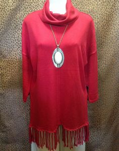 Colour Works - Cowl neck sweater with fringe - $78