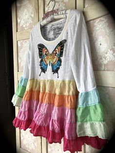 Boho Rainbow Butterfly Collage Top Rustic Swirly and Twirly Size Medium by IzzyRoo on Etsy