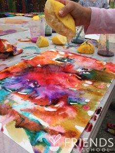 Observing Acidic Lemon Juice on Watercolors (from Friends Preschool)