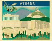 Athens, Greece Skyline - European City Wall Art Print  - for Gift, Home, Office, Nursery style E8-O-ATH