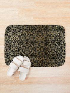 'Mystical Black Gold Design' Bath Mat by Shane Simpson Bath Mat Design, Bath Mats, Iphone Wallet, Black Gold, Mystic, Retro, Stuff To Buy, Bags, Handbags