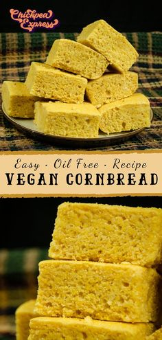 Vegan Oil-Free Cornbread Recipe Healthy vegan recipe, healthy recipe for vegan cornbread! Moist, bready, and cakey, just as cornbread should be! This cornbread recipe is perfect paired with a warm bowl of chili! Vegan Appetizers, Vegan Snacks, Vegan Dinners, Vegan Sweets, Vegan Finger Foods, Vegan Foods, Fall Recipes, Holiday Recipes, Vegan Recipes