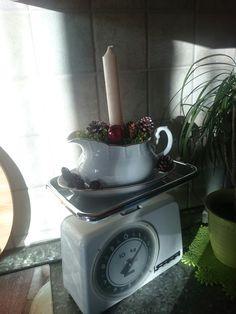 Alte Soßenschüssel schön dekoriert mit Moos und Zapfen