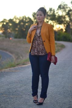 #2: BLAZER - this mustard color edges up a classic wardrobe staple (and looks great under her leopard blouse!)
