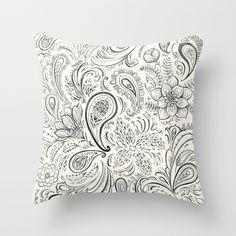 Paisley linework  Throw Pillow