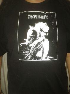 Black Gothic Short Sleeved T shirt Top Necromantic Design