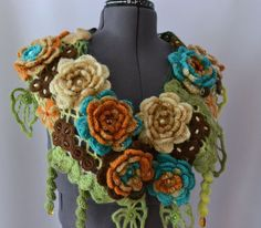 crochet shawl scarf - this would be great with a fancy evening dress in black, white, silver thread