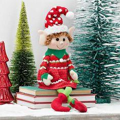 Plush Girl Elf Sitter from Kirkland's Holiday Ornaments, Holiday Crafts, Holiday Fun, Holiday Decor, Christmas Elf Doll, Noel Christmas, Girl Elf, Christmas Knitting, Xmas Decorations