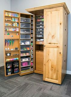 STORAGE - Fully Equipped Cabinet. Scrapbook Organization, Room Organization, Cabinet Decor, Tall Cabinet Storage, Craft Storage, Locker Storage, Fun Crafts, Closet, Craftroom Ideas