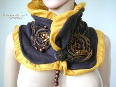 col écharpe snood tout doux bicolore couleurs chaudes marron jaune curry : Echarpe, foulard, cravate par les-insoliterres