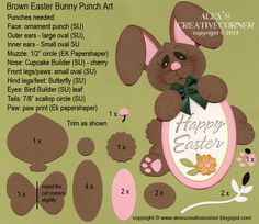 Stampin Up - Alex's Creative Corner - Easter bunny punch art instructions Paper Punch Art, Punch Art Cards, Easter Projects, Easter Crafts, Paper Piecing, Tarjetas Diy, Craft Punches, Kids Cards, Baby Cards