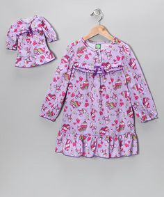 Take a look at this Purple Cupcake Nightgown & Doll Outfit - Toddler & Girls by Dollie & Me on #zulily today!