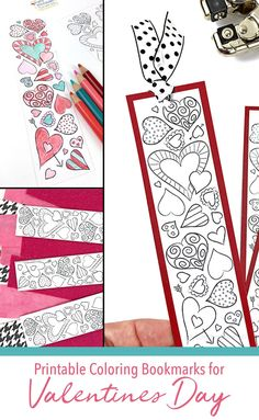 Adorable Valentine to pass out in class! Print Valentine Bookmarks for school parties. Free printable bookmarks for kids to color from Carla Schauer Designs. Diy Valentine's Bookmarks, Printable Valentine Bookmarks, Diy Valentines Cards, Bookmark Craft, Valentine Crafts For Kids, Valentine Heart, Valentine Nails, Valentine Ideas, Valentine Coloring Pages