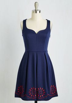 Bright This Way Dress in Navy. When your darling navy dress comes into view, arriving guests are sure theyre in the right place! #blue #modcloth