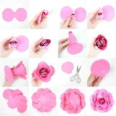 Free Large Paper Rose Template: DIY Camellia Rose Tutorial. How to make easy large paper roses. Free printable paper rose template. Free SVG paper rose cut files. Easy DIY paper flowers.