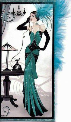 New art deco posters vintage illustrations 40 ideas Arte Fashion, Art Deco Fashion, Fashion 1920s, Trendy Fashion, Vintage Fashion, Fashion Black, Cheap Fashion, Dress Fashion, Fashion Women