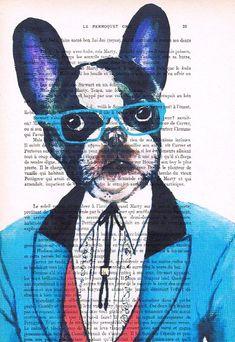 Estampe numérique originale Illustration mixte Media Art Poster peinture acrylique Decor dessin cadeaux : Verres bleu Français Bulldog
