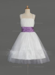 Flower Girl Dresses - $109.68 - A-Line/Princess Square Neckline Knee-Length Tulle Charmeuse Flower Girl Dress With Ruffle Sash Feather (010014608) http://jjshouse.com/A-Line-Princess-Square-Neckline-Knee-Length-Tulle-Charmeuse-Flower-Girl-Dress-With-Ruffle-Sash-Feather-010014608-g14608?ver=s92r1q&ves=vnlx6
