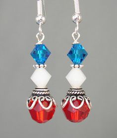 Red White Blue Swarovski Crystal 4th of July Earrings | eBay