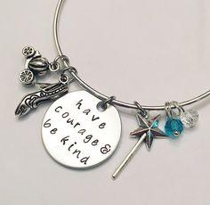 Have Courage and Be Kind Disney Cinderella Fairy Godmother Princess Inspired Stamped Adjustable Bangle Charm Bracelet #disney #movies #cinderella #fairygodmother #dreamscometrue #glassslipper #stamped #adjustablebangle #charmbracelet